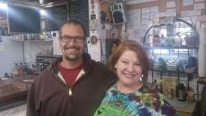 Cannabis tourism - Senior Stoner editor Cheri Sicard with the owner of the Red Canyon Cafe in Eagle, CO