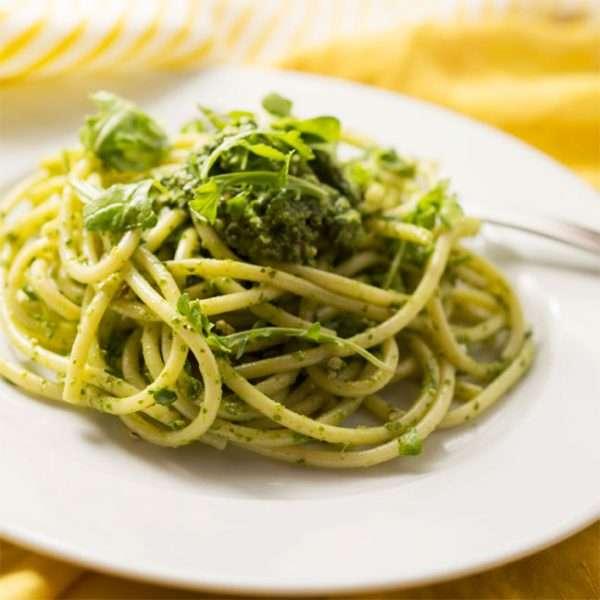 marijuana recipes - Spaghetti with Arugula Pesto